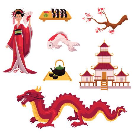 Set of Japanese culture elements - geisha, sakura, koi, sushi, pagoda, tea, dragon, cartoon vector illustration isolated on white background. Set of Japanese culture symbols, icons, elements Vector Illustration