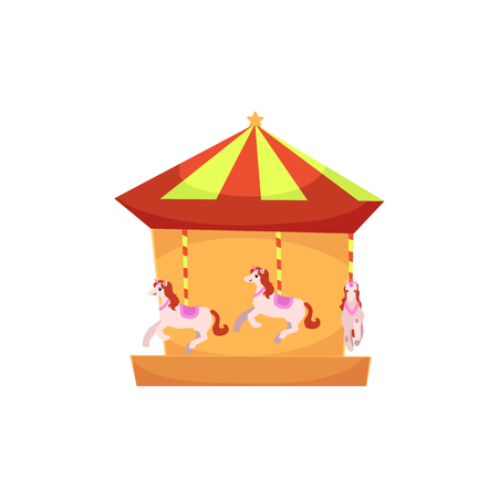 Amusement park carousel ride with horses, side view vector illustration isolated on white background. Cartoon illustration of carousel, roundabout, merry-go-round in amusement park