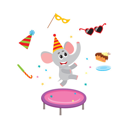 baby playing toy: vector flat cartoon cheerful elephant character jumping on trampoline wearing party hat happily smiling on background of party symbols. isolated illustration on a white background.