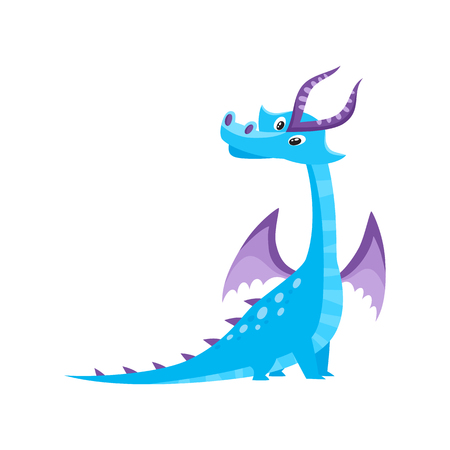 vector flat cartoon funny blue, marine adult, mature dragon with horns and wings. Isolated illustration on a white background. Fairy mysterious cute creature character for your design