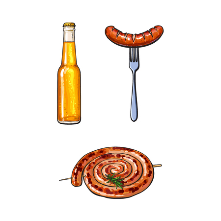 Cold beer and grilled, barbequed sausages - Cumberland and bratwurst, sketch vector illustration on white background. Realistic hand drawing of grilled, fried, barbequed sausages and bottle of beer