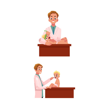 Man doctor, pediatrician checking baby, infant thoat and measuring head size, cartoon vector illustration isolated on white background. Doctor, pediatrician doing regular medical baby exam Illustration
