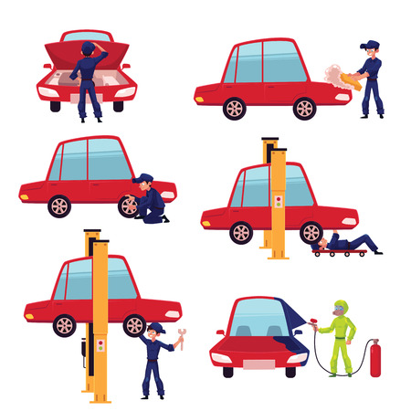 자동 정비공, 자동차 서비스 작업자, 자동차, 흰색 배경에 고립 된 만화 벡터 일러스트 레이 션을 수정하는 기술자의 집합입니다. 자동차 정비사 수리,  일러스트