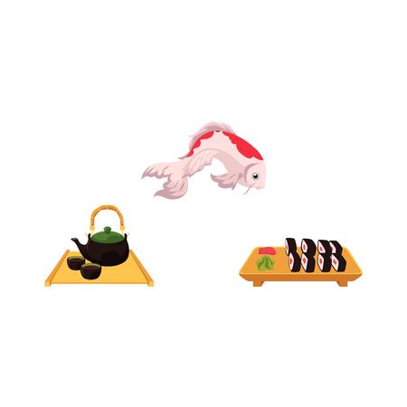 フラット アジア日本、中国東洋記号概念セットをベクトルします。伝統的な鯉鯉魚、生姜、わさび、茶道用キャップとポットと寿司。白い背景に分  イラスト・ベクター素材