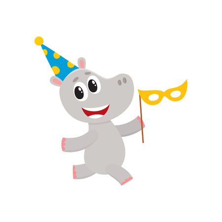 child sitting: vector flat cartoon cheerful hippo kid character having fun running wearing party hat holding mask happily smiling. isolated illustration on a white background. Animals party concept