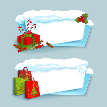 ベクトル漫画の白、青冬空バナー テンプレート ウィット雪キャップ、つららとクリスマス新年休日シンボル - 紙のショッピング バッグ、プレゼン  イラスト・ベクター素材