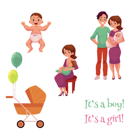 Newborn baby set, happy parents and carriage, cartoon vector illustration isolated on white background. Newborn boy, girl, mother breast feeding her child, happy young parents, birth celebration