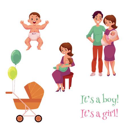 Sistema recién nacido del bebé, padres felices y carro, ilustración del vector de la historieta aislada en el fondo blanco. Niño recién nacido, niña, madre, amamantamiento, ella, niño, feliz, joven, padres, nacimiento, celebración Foto de archivo - 87382833