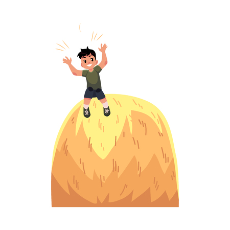 child sitting: Happy teen boy sitting on top of haystack, hay stack, having fun in summer farm, cartoon vector illustration isolated on white background. Happy boy, kid, child sitting on high haystack, farm summer