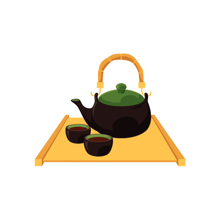 Chinese, Japanese teapot and teacups on wooden trivet tray platter, cartoon vector illustration on white background. Teapot and teacups, pots and cups on wooden trivet, Chinese, Japanese tea ceremony