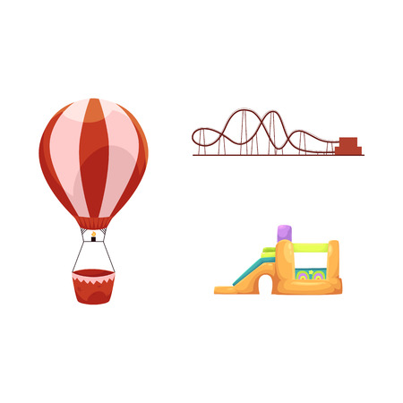vector flat amusement park objects icon set. Children rubber inflatable playground, bouncy castle trampoline, roller coaster and hot air balloon. Isolated illustration on a white background. Ilustracja