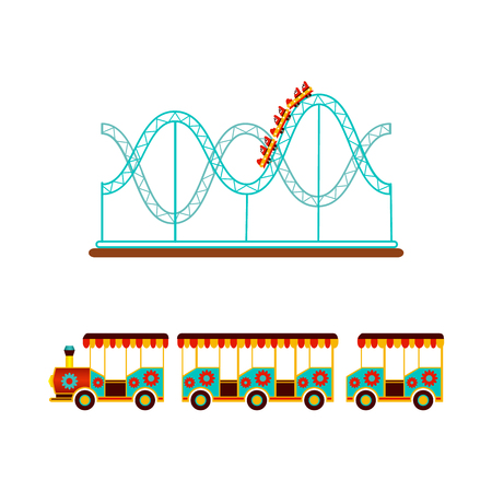 Roller coaster, rollercoaster and train ride in amusement park, flat icon, vector illustration isolated on white background. Flat icon, illustration of rollercoaster and train amusement park ride