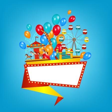 フラット スタイル遊園バナー、風船、観覧車、メリーゴーランド、テキスト、ベクトル イラスト背景に分離のためのスペースを持つポスター テン