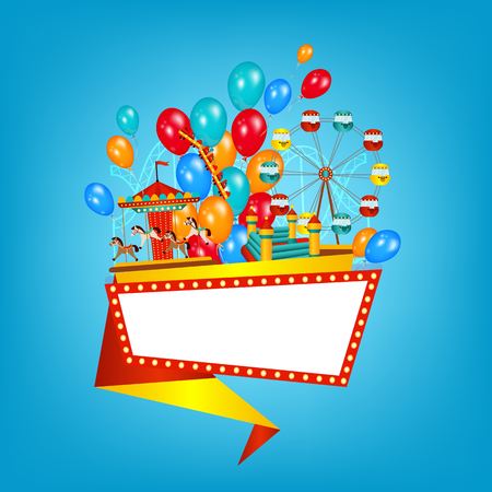Flat style amusement park banner, poster template with balloons, Ferris wheel, carousel and space for text, vector illustration isolated on background. Flst amusement park banner, poster design Stock Vector - 87382838