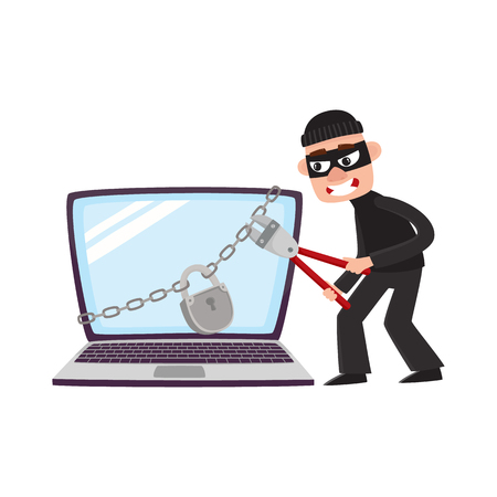 Hacker in mask trying to break lock, padlock protection on huge, giant laptop computer, cartoon vector illustration isolated on white background. Hacker breaking, cracking laptop, computer protection