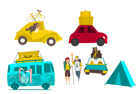 happy family: Road trip - van and cars with baggage, bike, suitcase on tope, tent and hiking couple, flat vector illustration isolated on white background. Car trip set, flat style hiking couple vehicles luggage