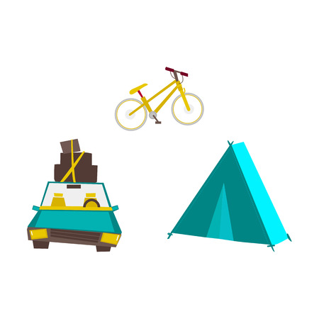 Car with baggage on roof, tourist tent and mountain bike, road trip concept, flat vector illustration isolated on white background. Car trip concept, flat style tourist tent and bike for traveling Ilustracja