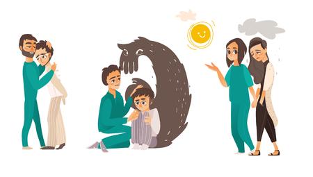 精神障害 - 心を落ち着かせる、なだめるような生理学的方法を示す、医療援助、白い背景で隔離のフラット漫画ベクトル図を持つ人々 を助けます。  イラスト・ベクター素材