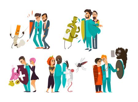 Ensemble de médecins qui luttent contre les maladies, les maladies, tenir un bouclier pour protéger les patients, illustration de vecteur de dessin animé plane isolé sur fond blanc. Bataille de docteurs, protection physique et psychiatrique Banque d'images - 87382845