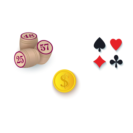 Set of casino, gambling symbols - playing card suits, bingo kegs and golden coin, vector illustration isolated on white background. Set of gambling, casino symbols - suits, kegs, golden coin