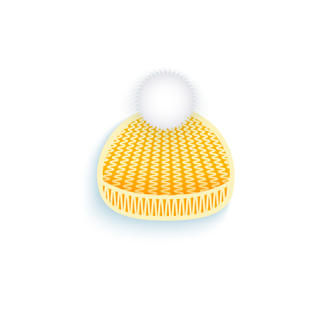 vector flat knitted winter cap with pompon. Isolated illustration on a white background. Winter sybols concept Ilustrace
