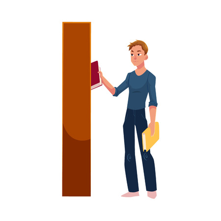 Young man taking, picking a book from bookcase, bookstand in library, store, cartoon vector illustration isolated on white background. Young man taking, choosing, picking a book from bookcase