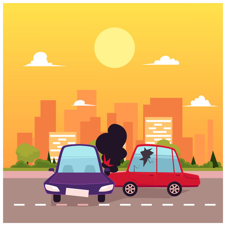 vector flat cartoon car crash, accident scene. One vehicle lost its wheel, and both have dents, broken glasses, scratches. Illustration on the background of big city with buildings at sunny day. Stock Vector - 87382856