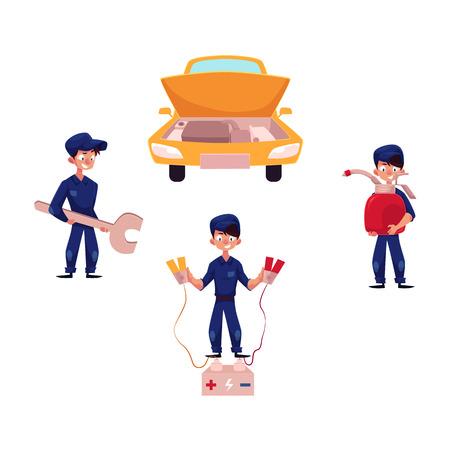 거 대 한 렌치, 오일 컵 및 배터리 시동기, 자동차 서비스 및 유지 관리 개념, 만화 벡터 일러스트 레이 션 흰색 배경에 고립 된 자동 정비공. 차량 정비