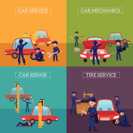 Set of square banners with auto mechanics, car service workers fixing, repairing, servicing cars, cartoon vector illustration. Auto mechanics repairing, cleaning, servicing, fixing, painting a car Illusztráció