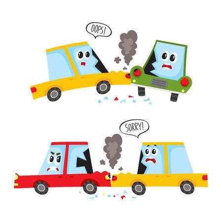 Personnages de voiture plate de vecteur avec le visage, le crash des émotions, ensemble de l'accident. Collision frontale et frontale. les deux véhicules ont des bosses cassées des lunettes de fumée de la hotte. Illustration isolée sur fond blanc Banque d'images - 87382860