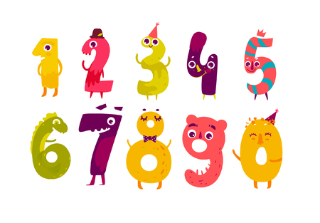 Set of cute number characters - zero, one, two, three, four, five, six, seven, eight, nine, cartoon vector illustration isolated on white background. Funny childish number characters, math symbols Иллюстрация