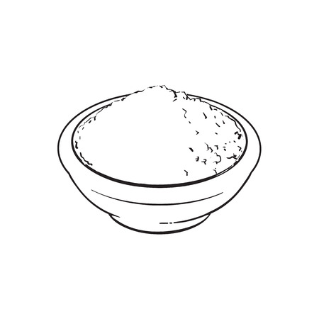 Black and white contour drawing, vector sketch cartoon hand drawn ceramic bowl of mathca tea powder top view. Isolated illustration on a white background. Traditional tea ceremony attribute, symbol Illustration