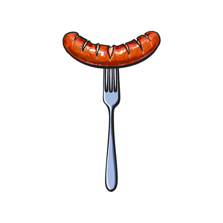 Freshly grilled, barbequed meat sausage on fork, sketch style vector illustration on white background. Realistic hand drawing of grilled, fried, German sausage, bratwurst on fork, BBQ, picnic food