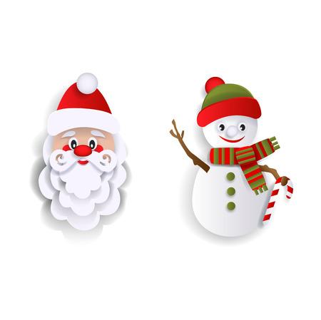 Papier découpé le père Noël et bonhomme de neige, éléments de décoration de Noël, illustration vectorielle style plat isolé sur fond blanc. Éléments de décoration style plat Santa Claus et bonhomme de neige Banque d'images - 87382874