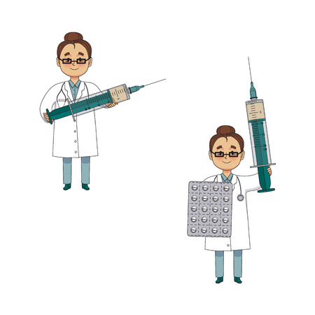 vector flat cartoon adult female doctor, physician or nurse in white medical clothing keeping huge big syringe and pills blister set. Isolated illustration on a white background.
