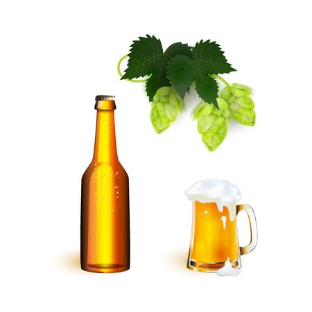 벡터 현실적인 전체 낯 짝, 황금 라 거의 병 두꺼운 하얀 거품 mockup와 나뭇잎과 홉 원뿔 멋진 맥주. 디자인 제품 포장을위한 준비. 흰색 배경에 고립 된
