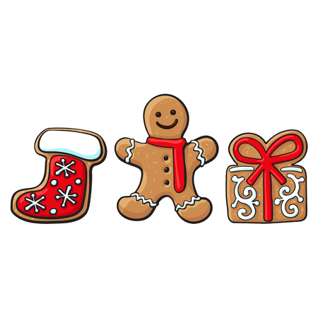 Set of glazed gingerbread, present box, Santa boot gingerbread cookies, sketch vector illustration isolated on white background. Christmas glazed gingerbread cookies - gingerbread, village house, boot Иллюстрация