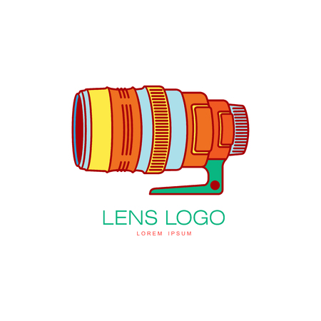 Vector photo camera lens colored icon pictogram. Flat cartoon isolated illustration on a white background. Logo brand concept for photo studio design