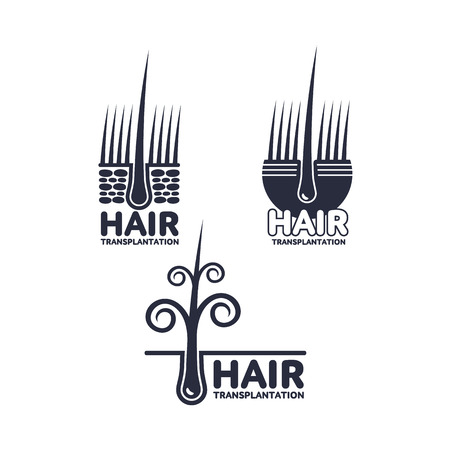 Set of hair transplantation logo, logotype templates, vector illustration isolated on white background. Hair loss treatment logos for medical hair transplantation centers showing deep epidermis layers Illustration