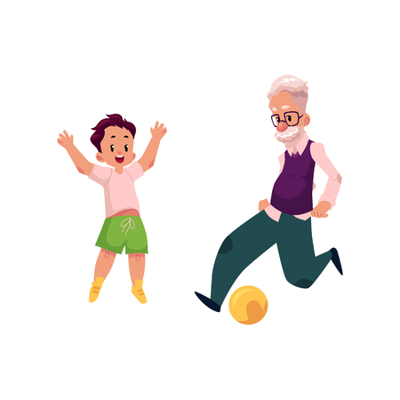 Grandfather, old man playing football with his grandson, teenage boy, cartoon vector illustration isolated on white background. Granddad grandparent and grandson playing football, happy family concept Illustration