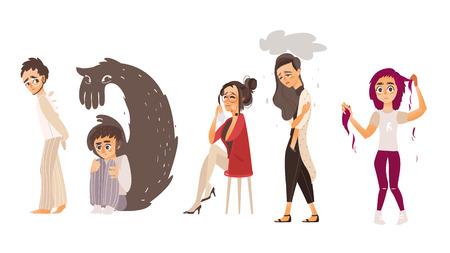 Set van mensen die lijden aan psychische stoornissen, ziekte, verdriet, zenuwinzinking, platte cartoon vectorillustratie geïsoleerd op een witte achtergrond. Geestesziekte concept, mensen in wanhoop, stress, verdriet
