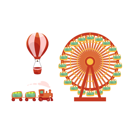 vector flat amusement park, funfair carnival objects icon set. Hot air balloon, kid steam train and Ferris wheel. Isolated illustration on a white background.