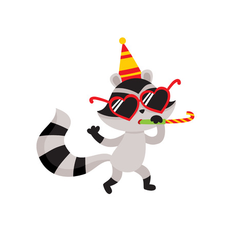 vector flat cartoon cheerful raccoon character having fun whistling wearing party hat happily smiling. isolated illustration on a white background. Animals party concept Çizim