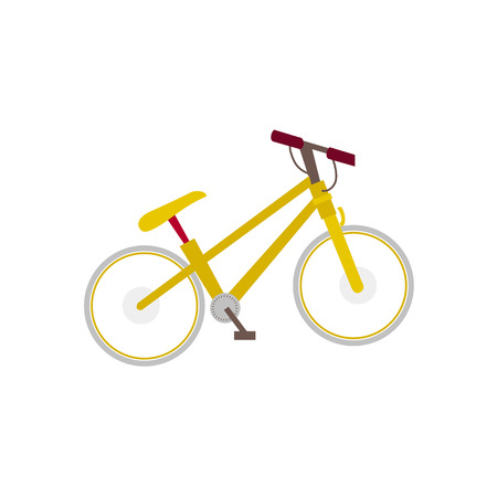 Flat style mountain bike, touristic bicycle, side view illustration isolated on white background. Side view flat style picture of yellow mountain bike, tourist bicycle