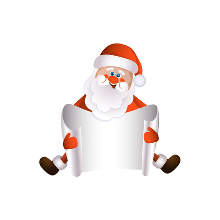 vector cartoon Santa Claus sitting in red white clothing and hat keeping blank white paper with free space for a text. Illustration isolated on a white background. Christmas ,new year poster design