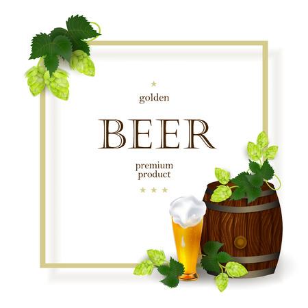 Cartel de vector, banner con espacio libre para texto con taza de vidrio y barril de cerveza dorada con hojas de lúpulo, conos. Listo para la plantilla de maqueta de diseño. Ilustración aislada en un fondo blanco. Foto de archivo - 87470501