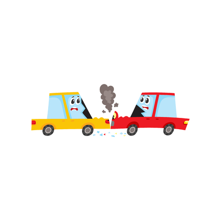 smash: vector flat cartoon car characters with face, emotions crash in head-on collision, accident. Both have dents, broken glasses, scratches and smoke from hood. Isolated illustration on a white background