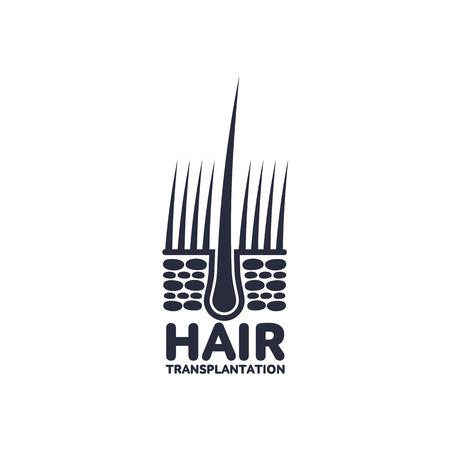 인간의 피부, 진피와 머리 전구에서 머리 뿌리. 의료 folicle 이식 회사 로고, 브랜드 아이콘 그림 디자인. 벡터 평면 실루엣 그림 흰색 배경에 고립.