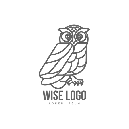 wise hand drawn sitting wise owl brand logo stylized design silhouette pictogram. Line icon bird isolated illustration on a white background. Illustration