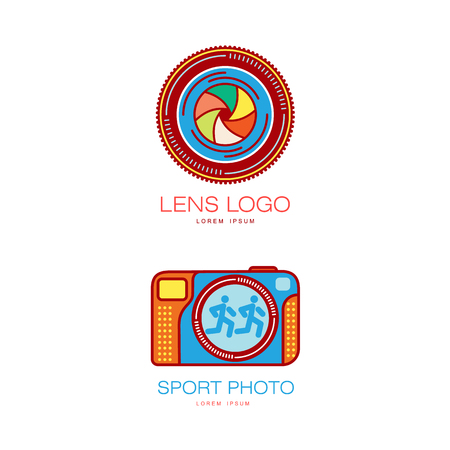 camera film: Vector photo camera icon set - lens shutter aperture, port photo camera colored pictograms. Flat cartoon isolated illustration on a white background. Logo brand concept for photo studio design